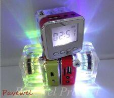 10 PCS Cube Transparent MP3 Speaker with Colorful Light USB TF Card Port