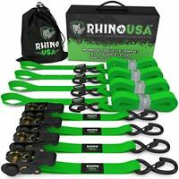 RHINO USA Ratchet Tie Down Straps 4-Pack (Green)