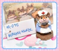 ❤️Wee Forest Folk M-095 Mousey Nurse Mouse Blue Dress Red Cross Retired WFF❤️