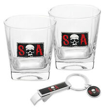 Sons of Anarchy Skull SOA 2 x Glass Spirit Glasses (285ml) and Key Ring Man Cave