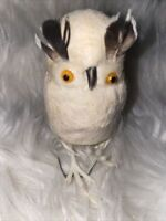 RARE Vintage Mid Century Christmas Ornament White Feathered Owl 6 Pick 3x2""