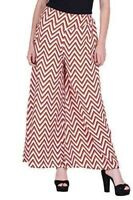 Red White ZigZag Printed Palazzo for women's