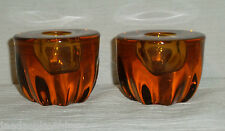 """Amber Glass Candle Holders Pair Taper Candle Holders Orange Brown Vtg 1.75"""""""