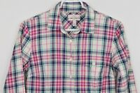 J Crew Boy Shirt sz 2 Long Sleeve Button Up Plaid Cotton Pink Blue White