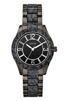 NWT Auth Guess W0014L3 Black Animal Print Stainless Steel Watch