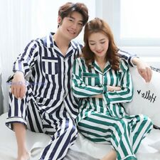 Mens Womens Silk Satin Pajamas Set Pyjamas Sleepwear Nightwear Lovers Loungewear