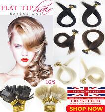 "18""-22"" 1g Russian Remy Italian Keratin Flat Tip Hair Extensions Double Drawn UK"