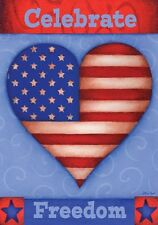 "Celebrate Freedom July 4th Patriotic Usa Heart Large House Flag 28"" X 40"""