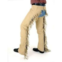 Tough-1 Luxury Synthetic Suede Chaps with Zipper and Silver Buckle Front