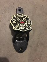 Firefighter Fireman Cast Iron Bottle Opener Antique Style Solid Metal Patina Ex