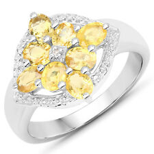 Wedding Ring 1.76 Ct Genuine Yellow Sapphire & White Diamond 925 Sterling Silver