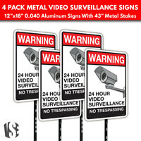 Warning Video Surveillance No Trespassing Metal Security Signs w// Stakes 8-pack