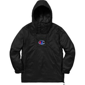 Supreme®/Champion® Pullover Parka BLACK MEDIUM SS18 ***IN HAND QUICK SHIPPING***
