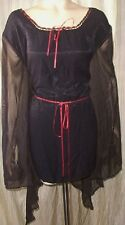 Gothic Black Blouse shirt Top red Stevie Vamp  Witchy Mori Club Rave 2X 3356