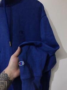 Mens Vintage champion blue Hoodie Sweatshirt Cres Logo Size Medium 99p Start