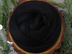BLACK - Merino wool roving, combed top, for spinning, nuno felting - 2 oz
