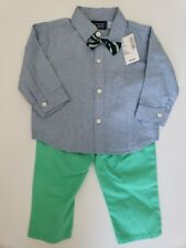 Childrens Place 3 Piece Outfit 6-9 months Boys Eco Green and Blue NWT