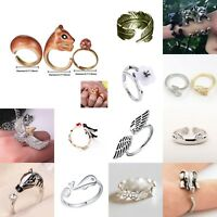 Special Men Women Charm Animal Swallow Flower Open Ring Rings Adjustable Jewelry
