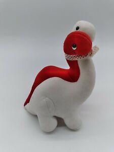Vintage Dinosaurs Dakin Red & White Plush Love Hugging 1987 Valentine's Day 9in