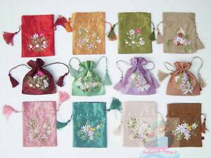 1/2/3/4PCS hand embroidered Ribbon Satin Drawstring Wristlet Purse Coin Bag