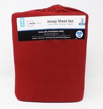 MainStays 3 Pc Twin Maroon Jersey Sheet Set -- New