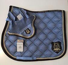 Lauria garrelli HKM matchy matchy GOLDEN GATE set-saddle pad-flyveil-smokey BLUE