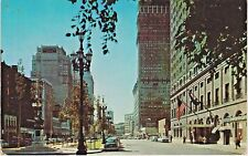 Washington Boulevard Lined with Shops and Hotel in Detroit, Michigan, in 1950's