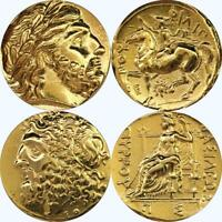 Zeus, 2 Famous Greek Coins, Greek Mythology, Percy Jackson Fans (4+10-G)