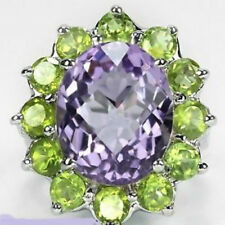 Sterling Silver 925 Large Genuine Amethyst and Peridot Ring Size T (US 9.75)