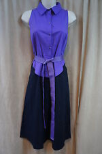 T Tahari Dress Sz 6 Purple Black Sleeveless Belted Business Cocktail Shirt Dress