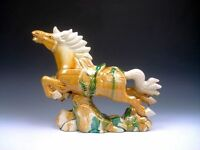 """Chinese SANCAI Pottery Hand Glazed Crafted Large Sculpture Running War Horse 13"""""""