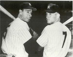 "JOE DiMAGGIO  & MICKEY MANTLE New York Yankees  B & W Large Reprint 11"" x 14"""