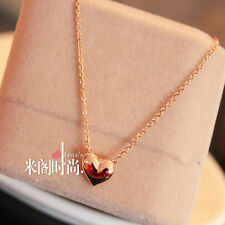 Gold Plated Heart Shape Sweet Women Bib Statement Chain Jewelry Pendant Necklace