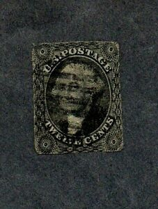 U.S.A. 1851. 12c BLACK IMPERF 'WASHINGTON' STAMP. SG 19. cat £275+ (2015). USED.