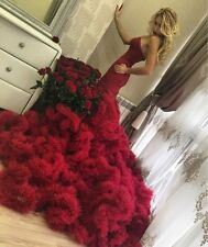 Luxury Ruffles Dresses Corset Bodice Lace Up Cloud Mermaid Burgundy Bridal Gowns