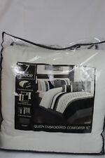 Hallmart Collectibles Fletcher Bedding 7Pc Queen Comforter Set Black/Ivory $200