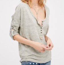 FREE PEOPLE WE THE FREE BEACH HAVEN GRAY IVORY STRIPED HENLEY TEE TOP L