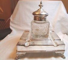 Crystal Glass Vanity Jar with Silvered Metal Engraved Large Stand