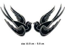 Pair Black bird tattoo swallow dove sparrow biker appliques iron-on patches