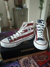 Converse All Stars Rayas EE. UU. Flag Hi Top Botas Béisbol Zapatillas Size UK 9.5