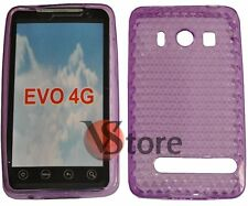 Cover Custodia Per HTC EVO 4G Viola Gel Silcone TPU Diamond