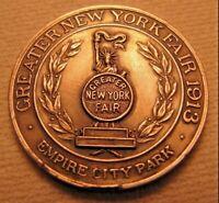 1913 GREATER NEW YORK FAIR Medallion Medal EMPIRE CITY PARK STATUE OF LIBERTY