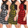 UK 8-26 Women Tartan Bodycon Pinafore Dungaree Dress Party Short Mini Skirt Slim