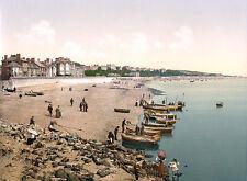 Vintage Edwardian Seaside Photochrome Photo Reprint Exmouth A4
