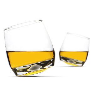 Set of 2 Rocking Whiskey Glasses Swirling Whisky Tumblers Bar Gift Set M&W