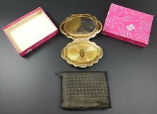 Lovely Vintage KIGU Floral Design 1950s Powder Compact in Original Box & Pouch