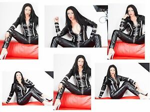 LEATHER LOOK  CATSUIT BLACK RED GREEN  PURPLE CREAM Size 18-24 UK NEW WITH TAGS