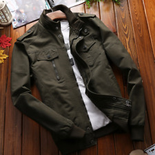Spring Mens Army Work Jacket Collar Bomber Casual Baseball Outwear Cotton Coat