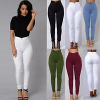 Fashion Women Casual Denim Jeans Multi Colors High Waist Zipper Fly Solid Pants