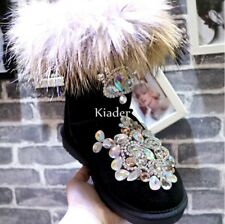Winter Womens Rhingstone Fox Fur Ladies Snow Boots Mid Calf Boots Shoes Leather